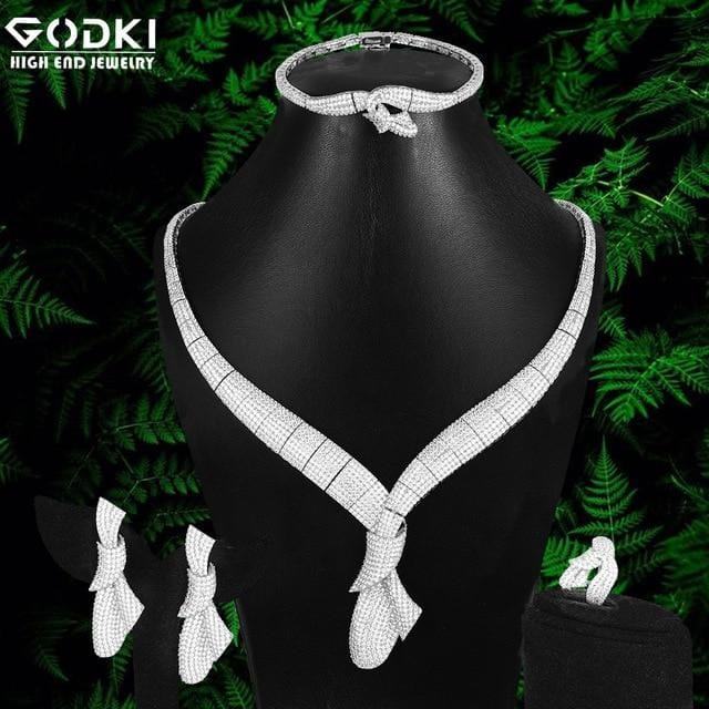 GODKI Flowers 4Pcs African Jewelry Sets for Women Wedding Luxury Nigerian Dubai Jewelry Set Cubic Zirconia Bridal Jewelry Sets