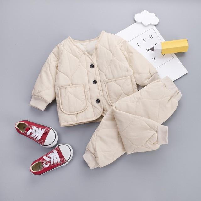 Fashion Infant Suit Winter Baby Boys Clothes Warm Kids Solid Down Cotton Coat Pants 2 pcs Baby Girls Clothing Set