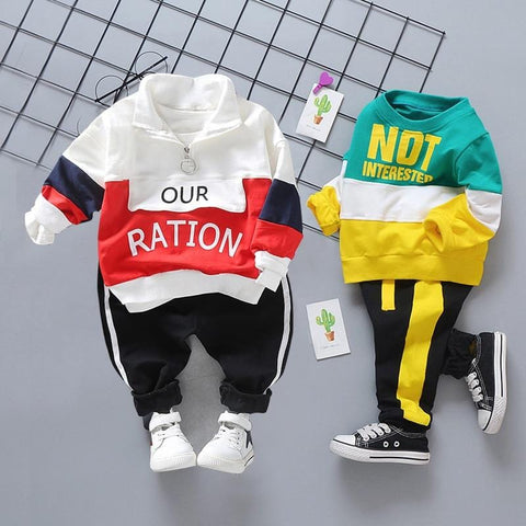 Toddler Clothes Baby Boys Clothing Solid T-shirt + Pants 2 Pcs Casual Long Sleeve Children Sport Outfits Infant Kids Clothing