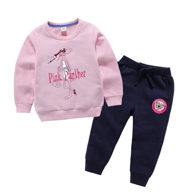 SAILEROAD Girls Pink Panther Clothes Sets Children Cotton Clothing For Boys Long Sleeve Sweatshirt+Pants Kids Sports Suit Autumn
