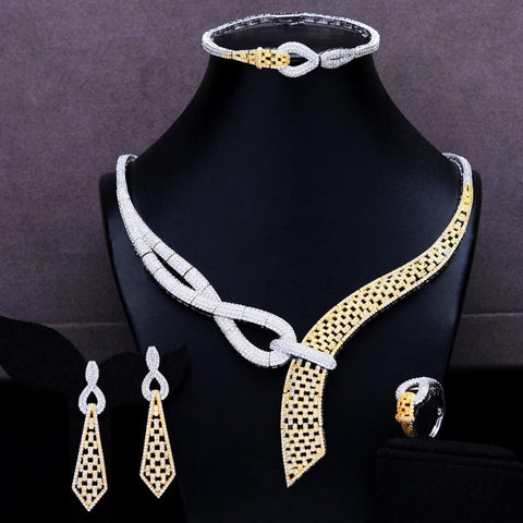 GODKI 4PCS Luxury African Jewelry Set For Women Wedding Bridesmaid Jewelry Sets 2020 Necklace Earring Bracelet Ring Party  Sets