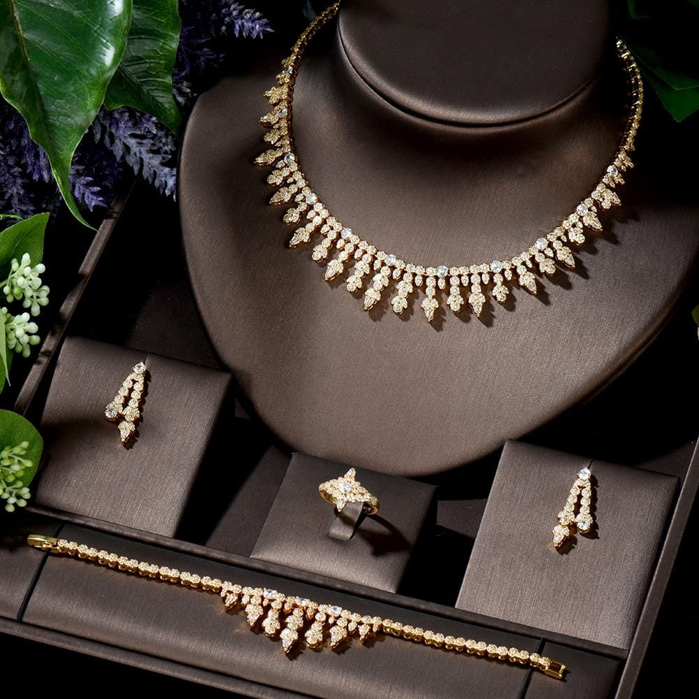 HIBRIDE Luxury Cubic Zirconia African Indian Gold Color Necklace Earrings Bracelet Ring Full Wedding Bridal Jewelry Sets N-1411