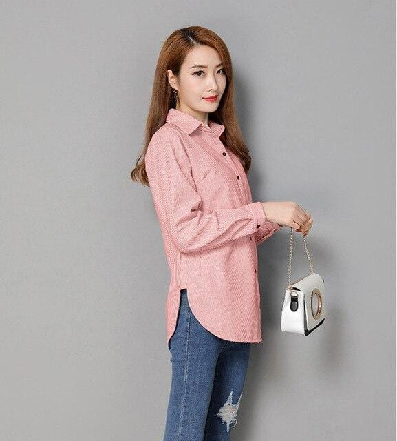 VogorSean Cotton Women Blouse Shirt 2019 Spring Summer Cottons Plus size Womans Blouses Shirts Casual Tops White/Blue/Pink