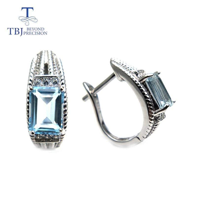 TBJ, new classic design natural gemstones Clasp earring sky blue topaz 925 sterling silver fine jewelry for women daily wear