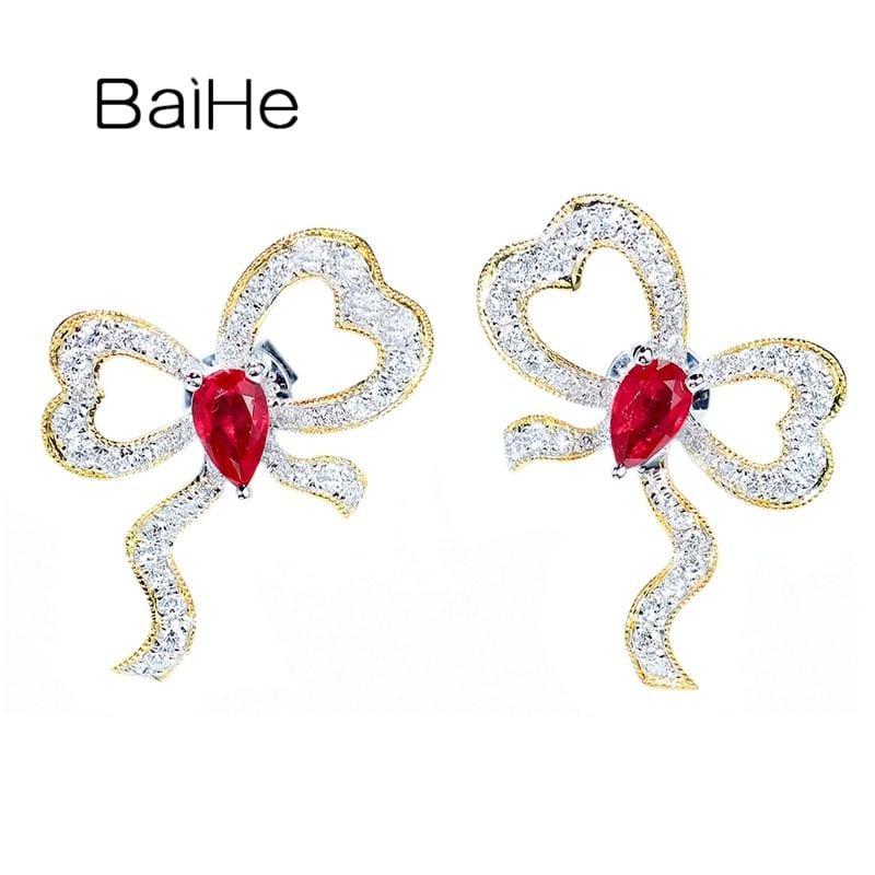 BAIHE Solid 14K White+Yellow Gold 0.40ct Natural Rubis 0.45ct Natural Diamonds Fine Jewelry Diamond Ruby Sweet Bow Stud Earrings