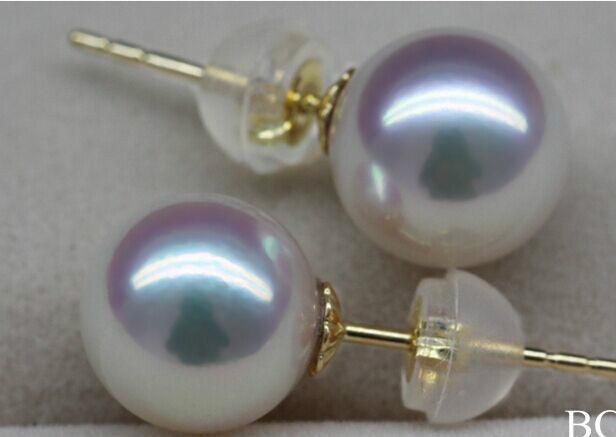 charming AAA round 14mm south sea white stud pearl earring 14k