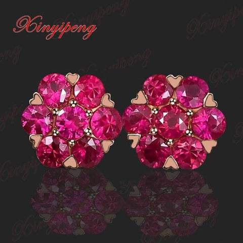 18 k rose gold with natural ruby studs earrings red color of fire Fine jewelry contracted The flower shape