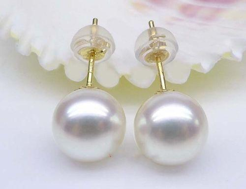 Top Quality AAAA REAL ROUND 10-11MM SOUTH SEA WHITE PEARL 18 EARRINGS