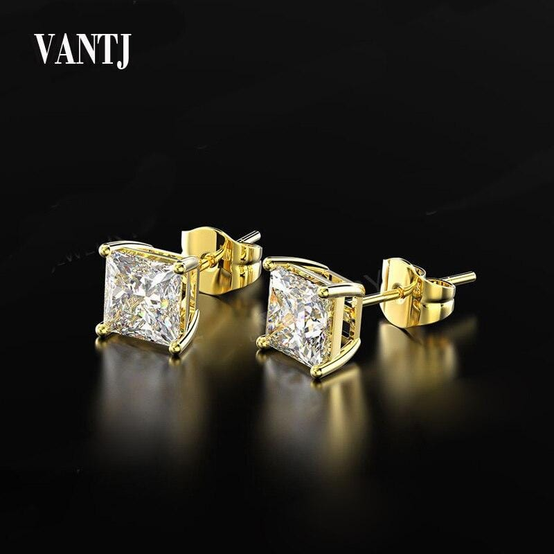 VANTJ Elegant Real 14K Gold Stud Earring  Sterling Moissanite EF Color Fine Jewelry For Women Lady Engagement Wedding Party Gift