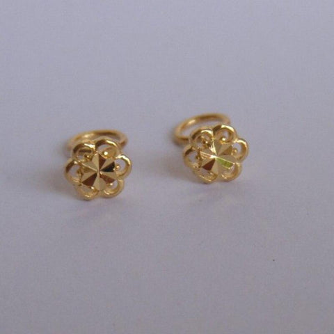 999 Real 24K Yellow Gold Earrings Women Luck Hollow Flower Stud Earrings 0.94g 6mmW Beauty Women Earrings