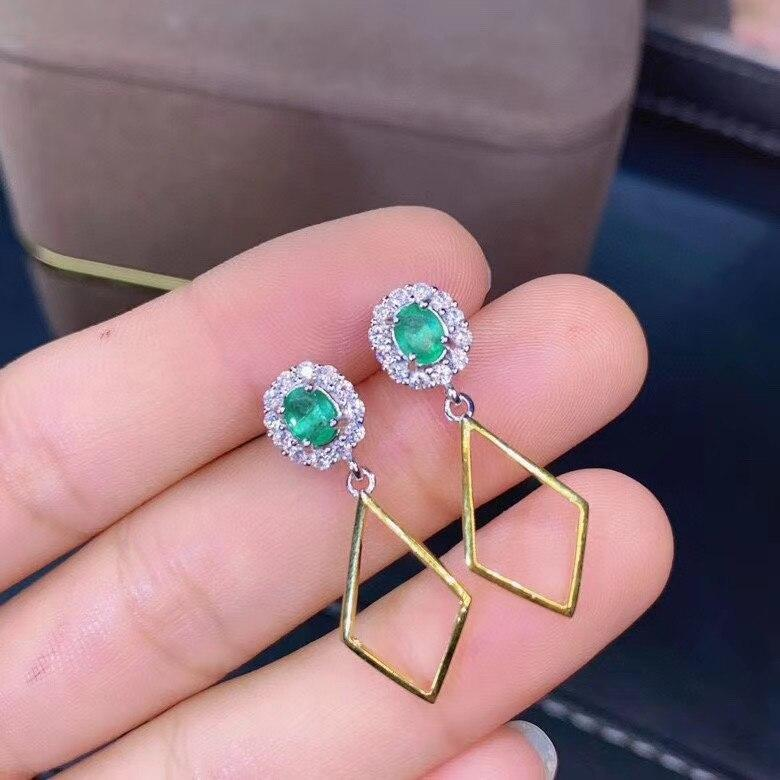 New Arrival Real and Natural Natural Real Emerald Earring 925 Silver sterling Fine Charm Jewelry for Women Wedding Party Earring