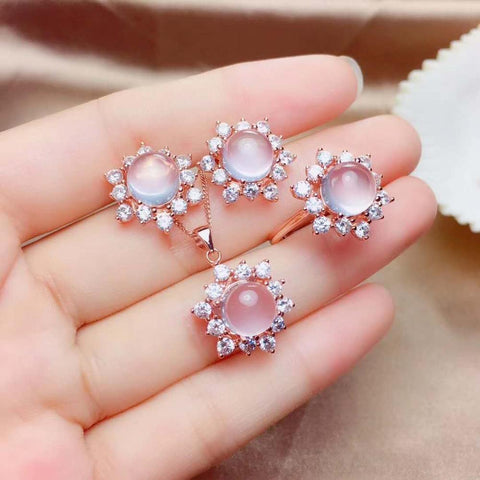 Real Natural Rose Quartz jewelry set Natural Real Rose Quartz 925 sterling silver 1pc pendant,1pc ring,2pcs Earring
