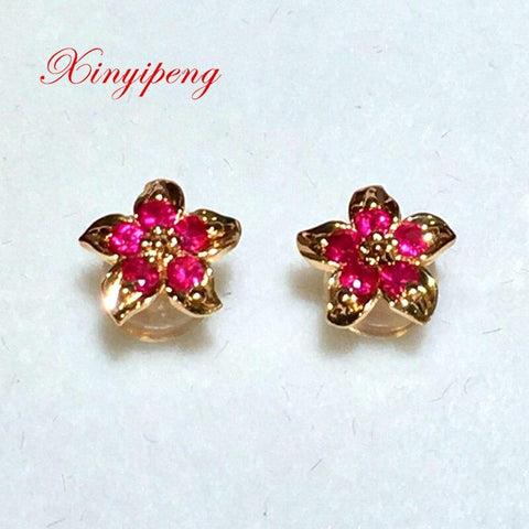 Xin yi peng 18 k rose gold inlaid natural ruby stud earrings, woman, birthday gift, beautifully