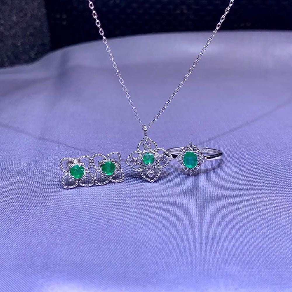 Natural green Emerald ring Pendant Natural Gemstone Jewelry Set S925 Silver Restoring Hollowing Clover Women party gift jewelry