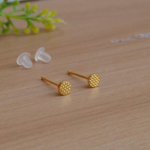 999 Real 24K Yellow Gold Earrings Women Luck Round Stud Earrings 0.54g 3.5mmW Beauty Women Earrings