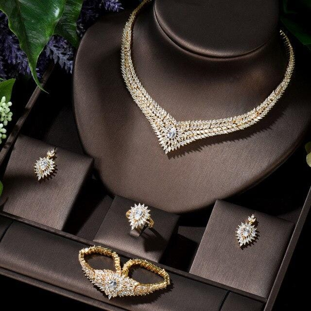 HIBRIDE AAA CZ African Jewelry Dubai Earring Necklace Sets for Women Round Wedding Jewellery Set Bridal Costume Jewelery N-1408
