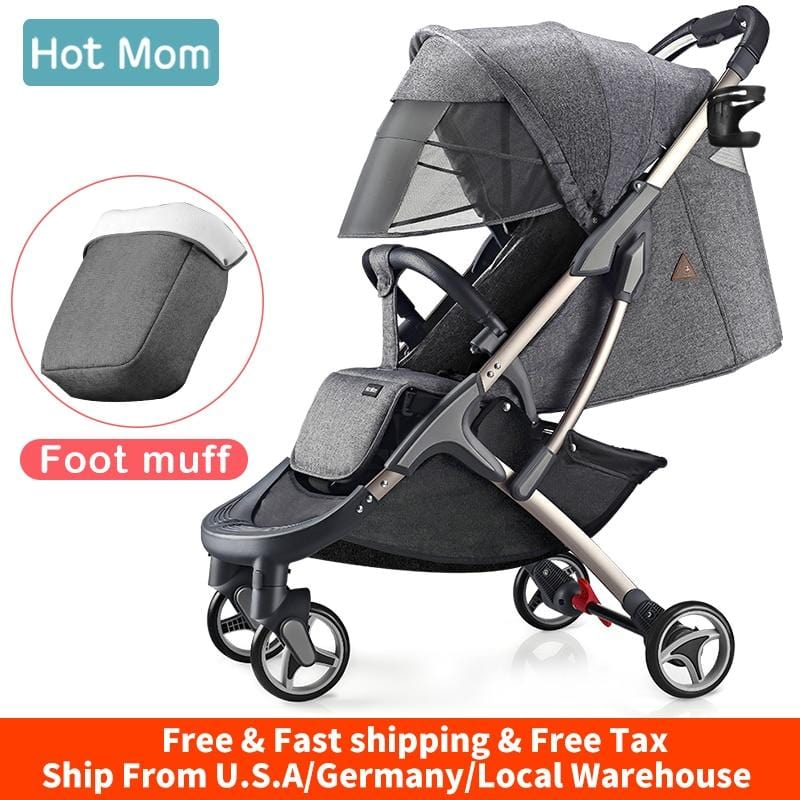 Baby Carriage Stroller lightweight with foot muff,Hot Mom Compact portable Buggy ,Mini Travel Stroller,M19-Grey