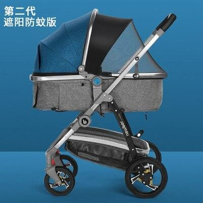 RU big promotion!Baby stroller newborn can sit and lie children's lightweight folding two-way  high landscape summer leather