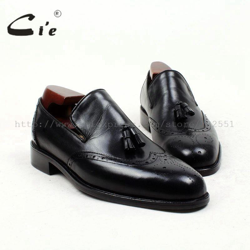 cie Free Shipping Handmade Tassels Round Toe Full Brogues Slip-on Loafer Calf Leather Men Shoe Leather Bottom BreathableLoafer79