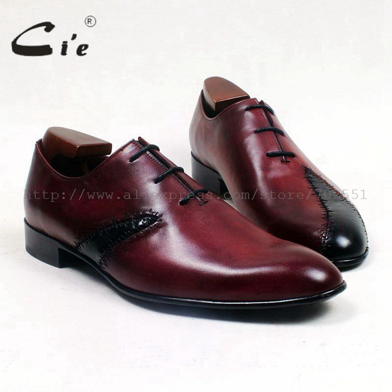 cie round toe wine black mixed colors patches shoe100%genuine calf leather outsole blake craft leather breathable men shoe ox514