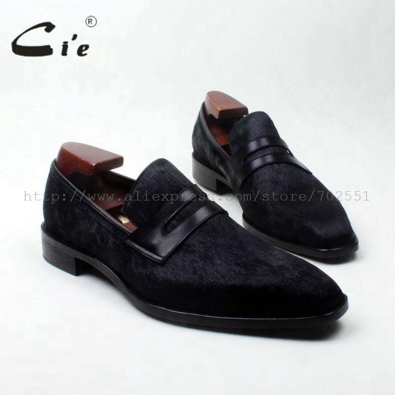 cie square toe penny shoe black horse hair bespoke leather man shoe handmade calf leather breathable genuine slip-on loafer126