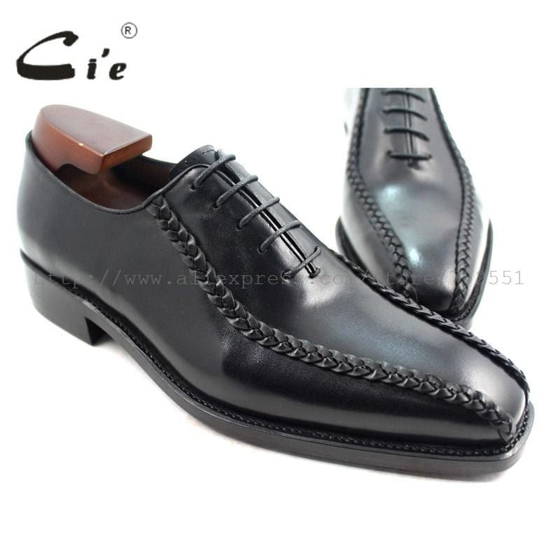 cie Square Toe Solid Black Men Genuine Leather Outsole Breathable Goodyear Welted Dress Oxfords Business Formal Shoes No.OX223