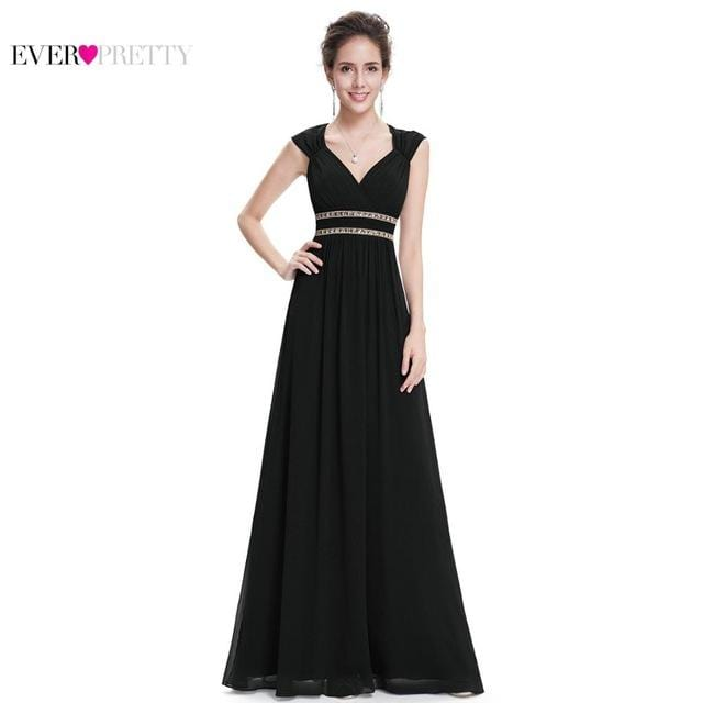 Formal Evening Dresses Long EP08697 Ever Pretty Women Elegant Navy Blue White V neck Sleeveless Empire Evening Dresses 2018 New