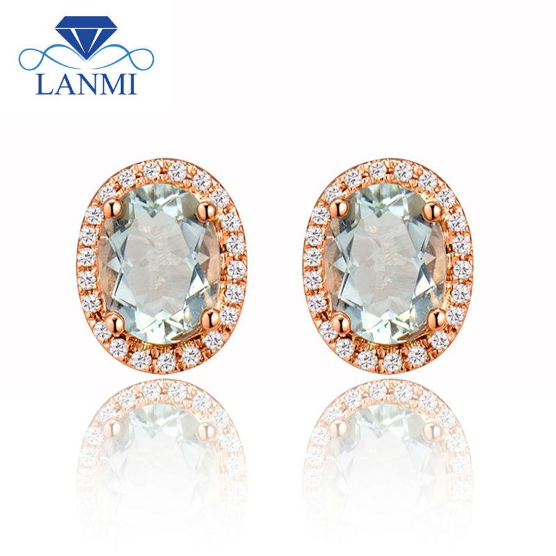 New Oval 6x8mm 14Kt Rose Gold Natural Green Amethyst Stud Earring, Amethyst Diamond Earrings E0053 - EM