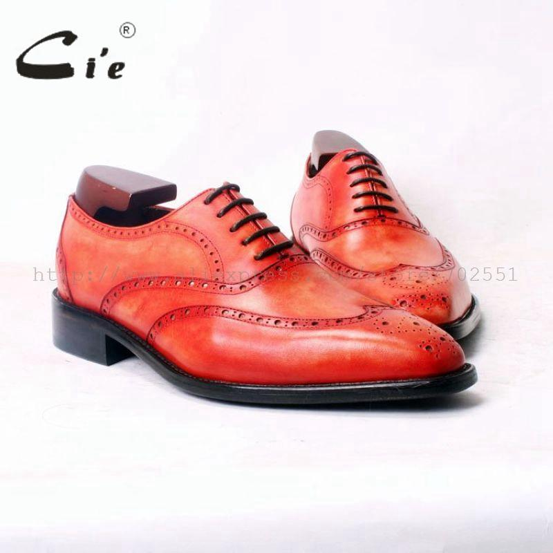 cie Square Toe WingTip Brogues Lacing Oxfords Patina Orange 100%Genuine Calf Leather Bespoke Leather Men Shoe Handmade Men OX379