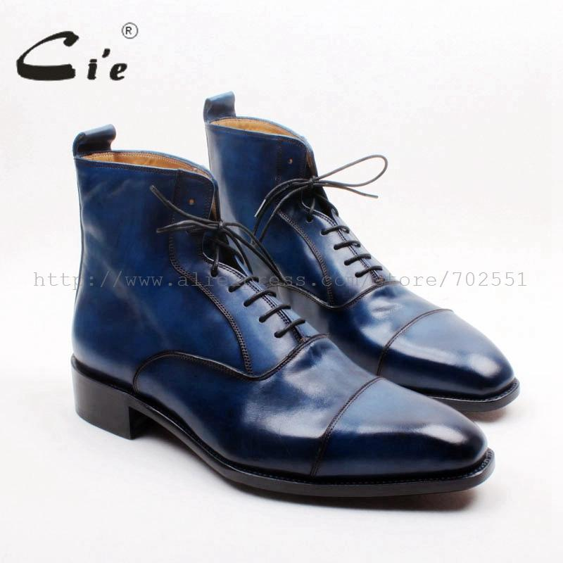 cie Square Captoe Lace-Up Handmade Hand-Painted Navy 100% Genuine Calf Leather Hidden Suture Goodear Welted Men Leather BootA156