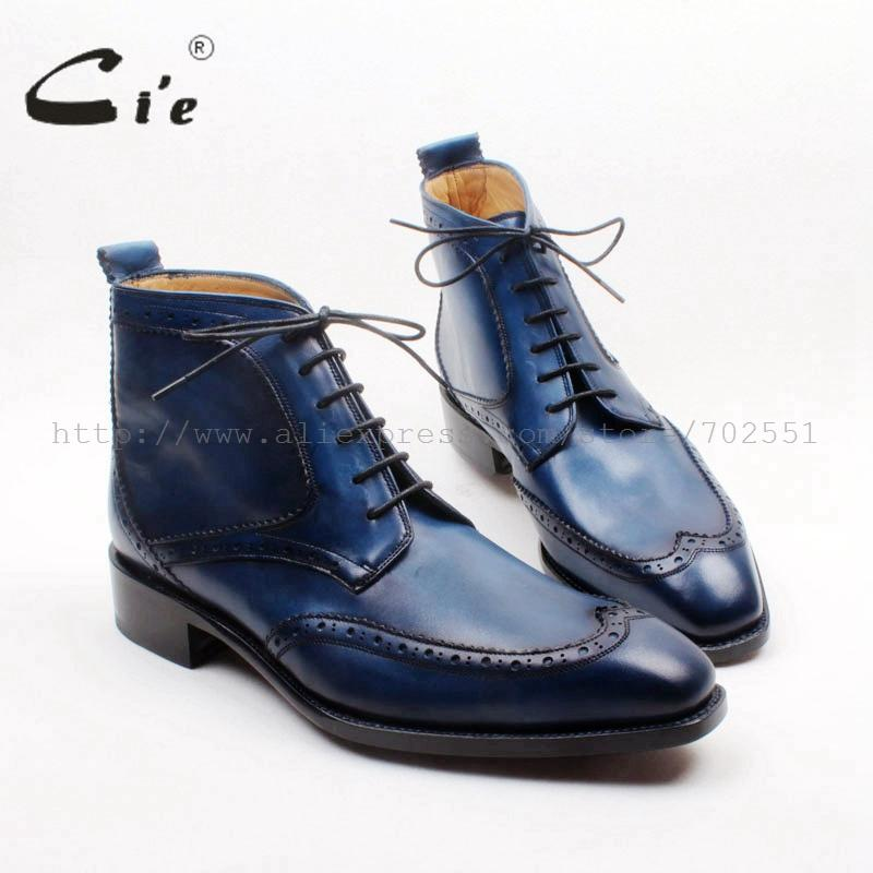 cie Square Toe Wing-tips Lace-up Handmade Hand-Painited Navy 100% Genuine Calf Leather Goodyear Hidden Suture Man Boot A154