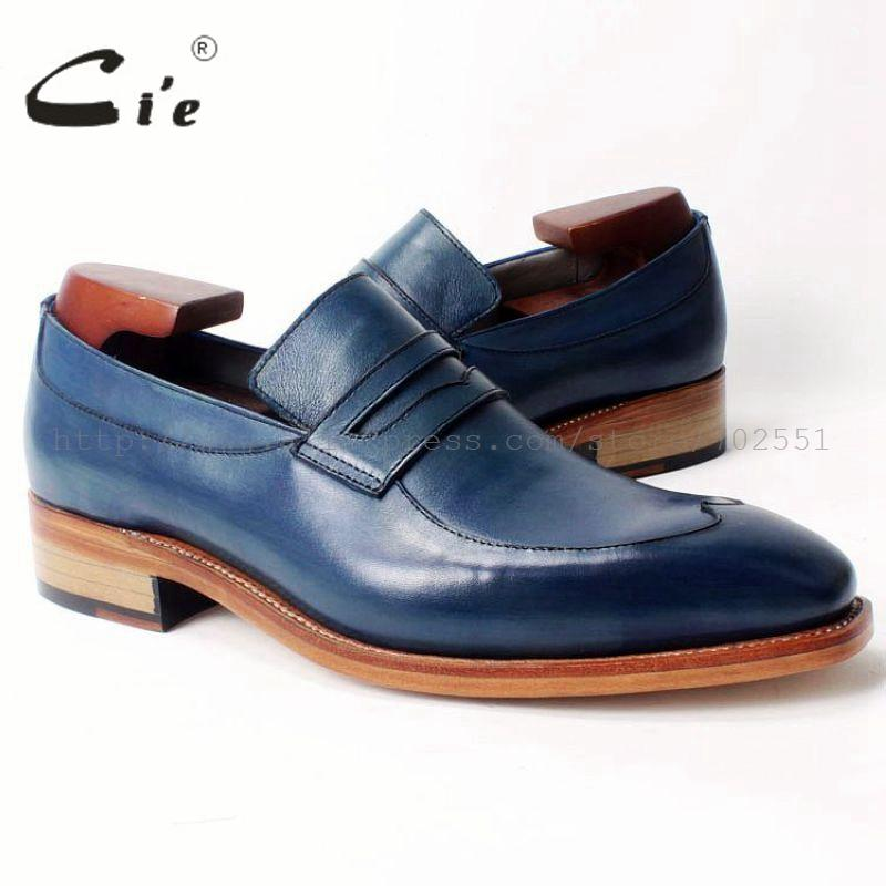 cie Free Shipping Square Toe Goodyear Welted Handmade Penny Loafer Calfskin Upper /Inner/Outsole Men's Color Blue Shoe Loafer 48