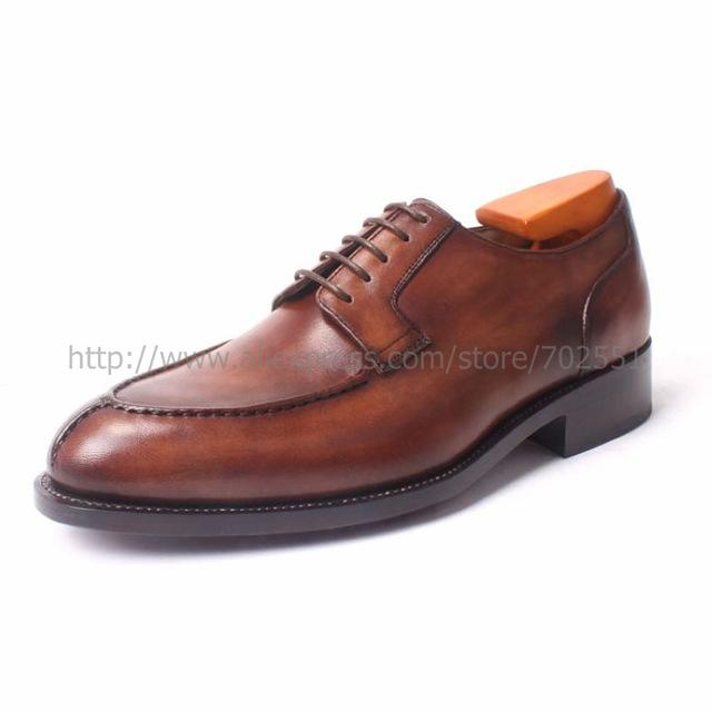 cie Round Toe Lacing Wider Shoe Last Handmade men's Derby  Leather Outsole Breathable Dress Goodyear Welted Shoe Brown  No.D101