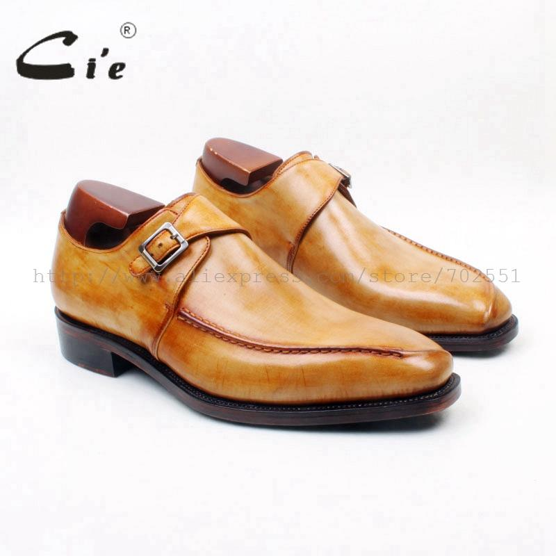 Free shipping bespoke handmade pure genuine baby calf leather men's  monk straps color brown shoe TZ7