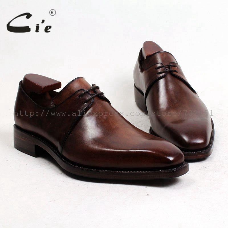 cie Square Plain Toe Bespoke Custom Handmade100% Genuine Calf Leather Outsole Men's Derby Color Breathable Brown Flat Shoe D141