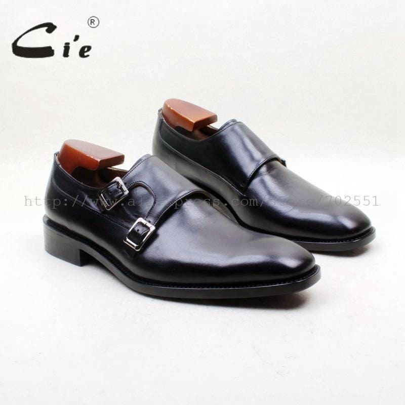 cie Free Shipping Goodyear Welted Handmade Square Plain Toe Double Monk Straps Calf Leather Men's Shoe Leather Outsole MS153