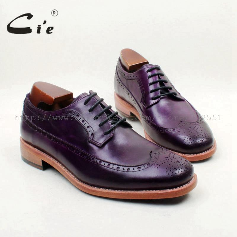 cie Free Shipping Bespoke Handmade Round Toe Full Brogues Lace-up Derby Hand-Painted Purple Calf Leather Breathable Casual D223