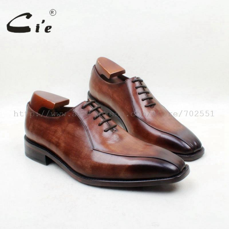 cie Square Toe Lace-Up 2 Lines100%Genuine Calf Leather Brown Patina Oxfords Leather Breathable Outsole Dress Men Shoe FlatOX703