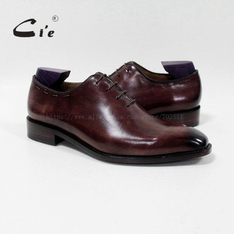 cie Square Plain Toe 100%Genuine Calf Leather Outsole Breathable Men's Dress /casual Oxford Patina Brown Macky Handmade OX-08-13