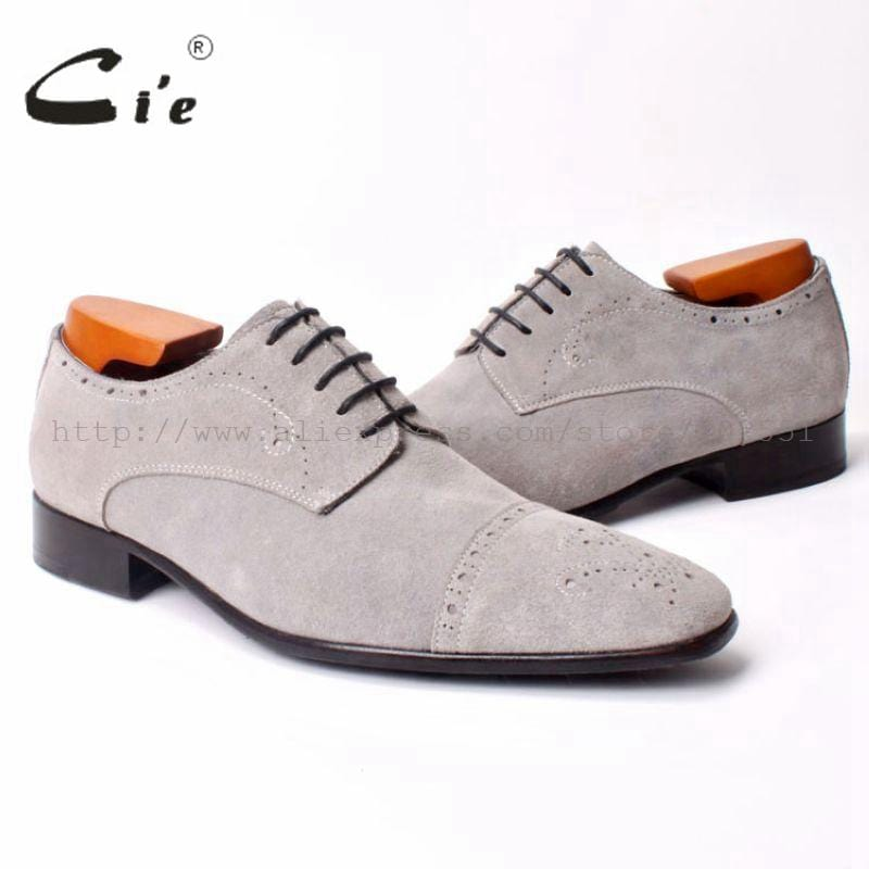 cie Semi-Brogues Bespoke Handmade Men's SquareToe  Derby  Calf Leather Outsole Breathable Shoe Color Light Grey Suede No.D95
