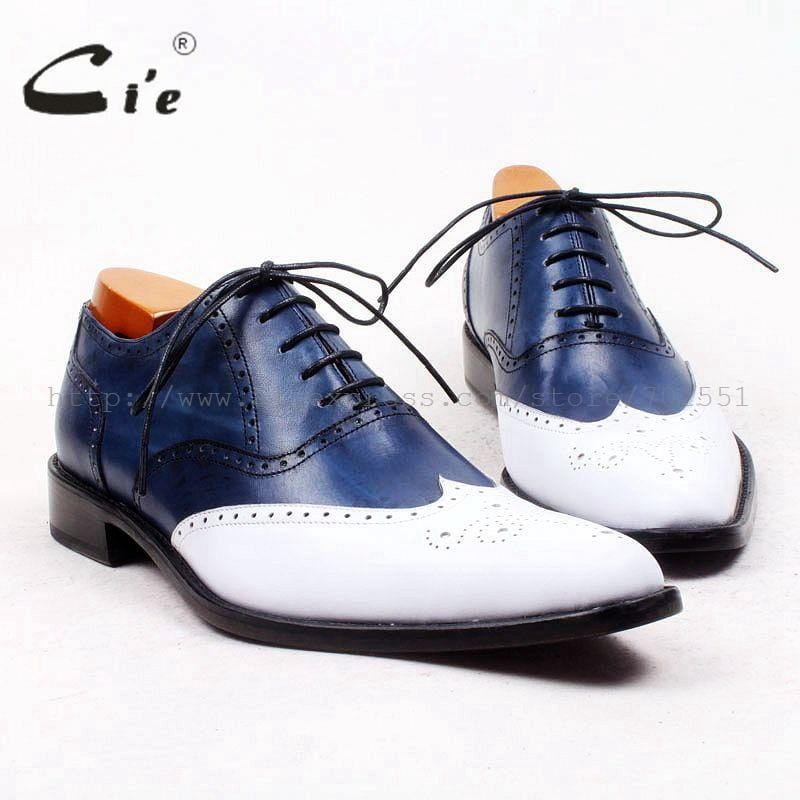 cie pointed full brogues bespoke custom handmade pure genuine calf leather outsole breathable men's casual blue/white shoe OX446