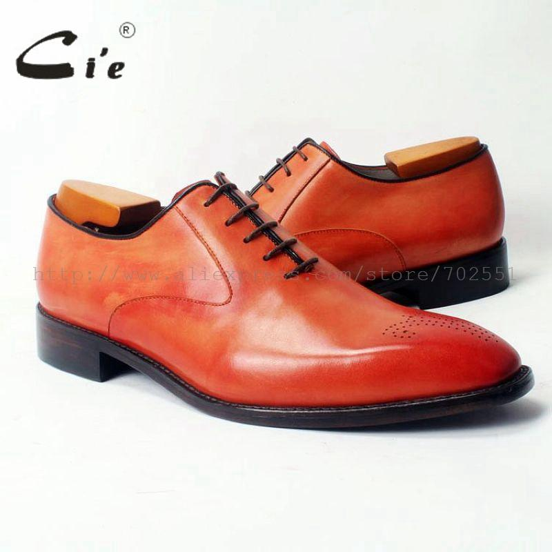 cie Square Toe Lace-Up Plain Oxfords Hand-Painted Orange 100%Genuine Calf Leather Outsole Breathable Men's Leather Shoe OX310