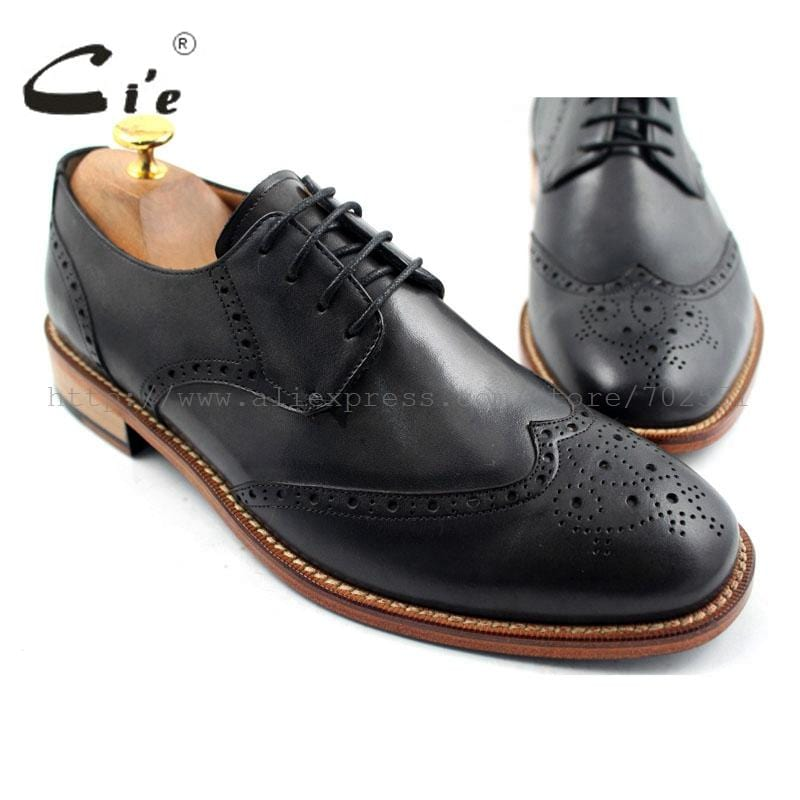 cie Free shipping mackay craft Bespoke handmade pure genuine calf leather outsole men's dress/classic derby dark gray shoe D47