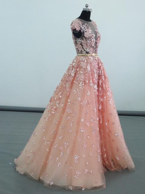 Real Photo 2016 Pink Prom dresses Appliques Sexy See Through Arabic Style Short Sleeves Evening Prom Dress Best Selling