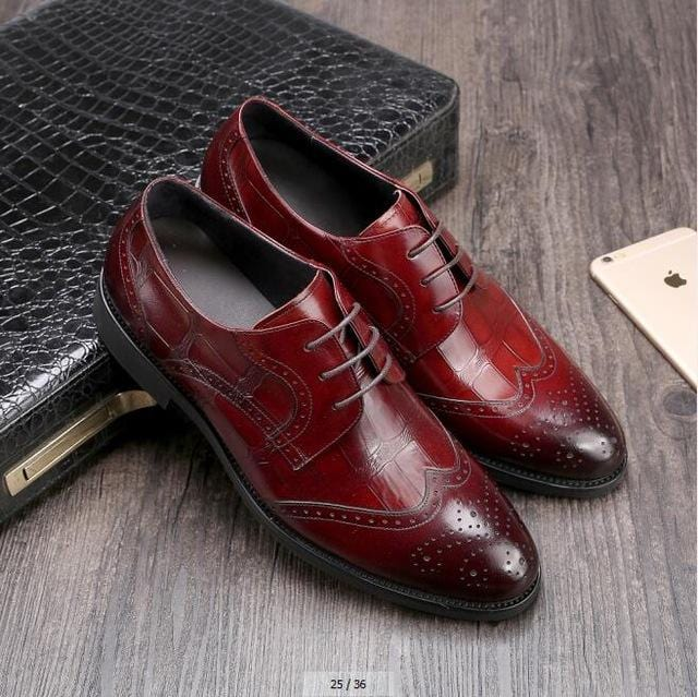 Men's Wedding Dress Shoes Casual Crocodile Genuine Leather Pointed Toe Oxfords Shoes Bussiness Brogues Shoes Moccasins For Men