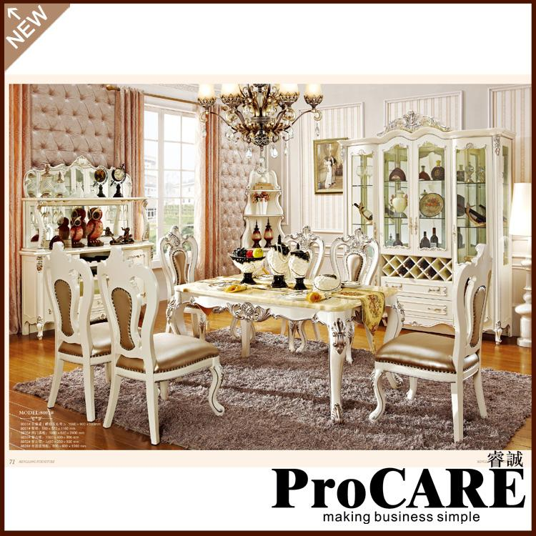 New classical dining room furniture wooden carving dinning table sets - EM