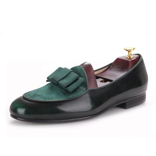 Men loafers Stitching leather leather loafer bow three color collocation wedding and party shoes Mysterious dark green