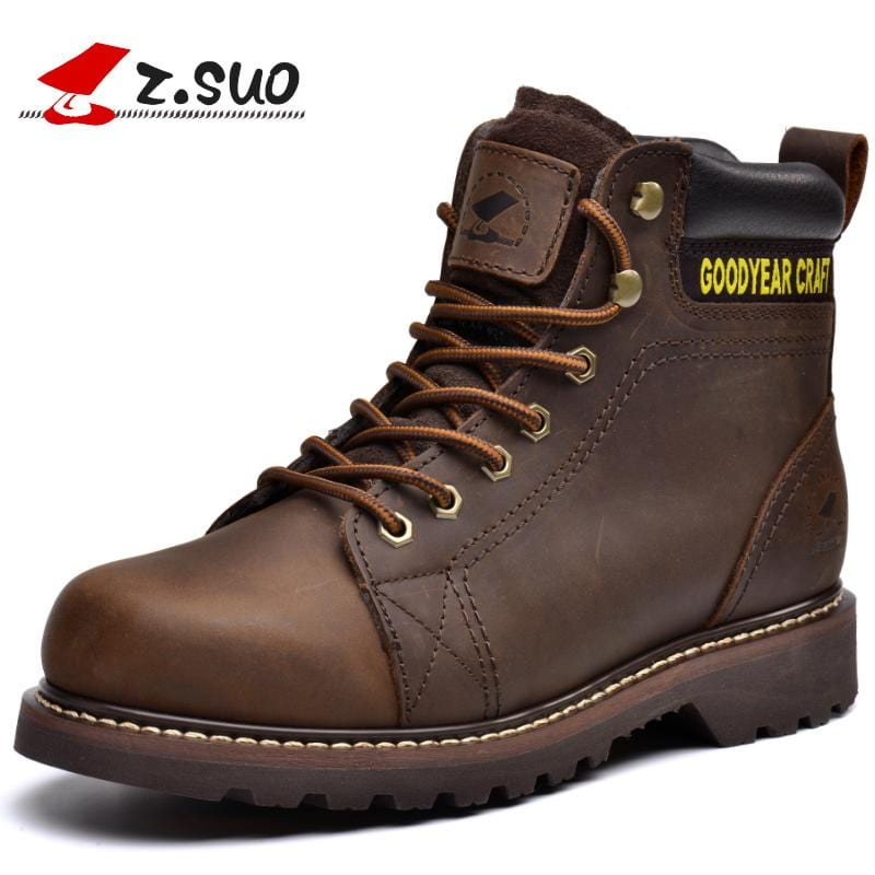 Z.Suo men's boots. Leather mens  boots, high-quality tooling retro fashion casual boots man botas hombre zsgty16008