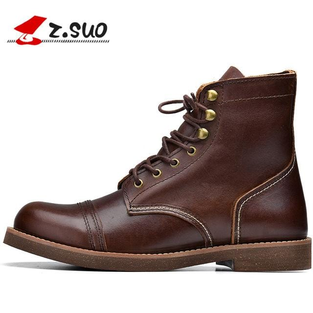 Z. Suo men's boots, fashion retro leather high-top boots, high quality cowhide  boots. Botas hombre zs16700