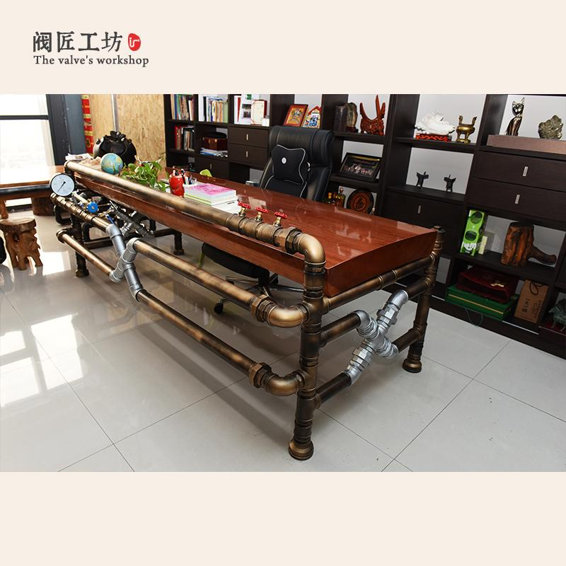 American Industrial Pipe Tea Table Made of Pipe and Valve Loft Industrial Creative Vintage Style Pipe Boss Table-J003 - EM